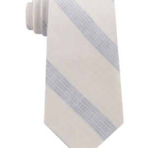 Calvin Klein Mens Taupe Gray Cloud Stripe Silk Tie